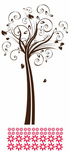 Groovy Spiral Branch Tree with Flowers Kit - Wall Decals