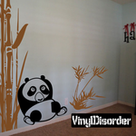 Asian Bamboo with Leaves and cool panda Kit - Wall Decals
