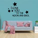 I love you to the moon and back Stars Wall Decal