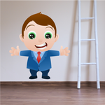 Happy Cartoon Businessman Wall Decal - Vinyl Sticker - Car Sticker - IDCOLOR003