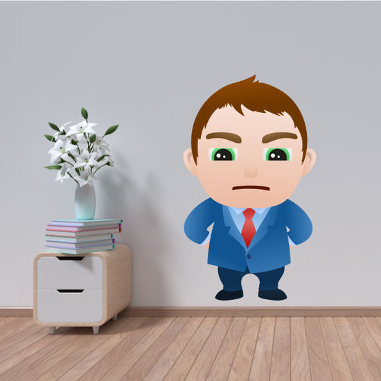 Upset Cartoon Businessman Wall Decal - Vinyl Sticker - Car Sticker - IDCOLOR017