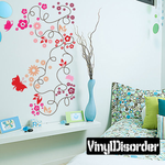 String Tree Branch Leaf Flowers and butterflies Decal