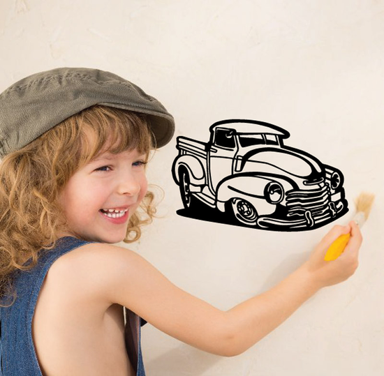 Cartoon Truck Wall Decal - Vinyl Decal - Car Decal - DC105