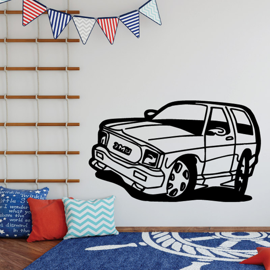 Cartoon GMC Truck Wall Decal - Vinyl Decal - Car Decal - DC113