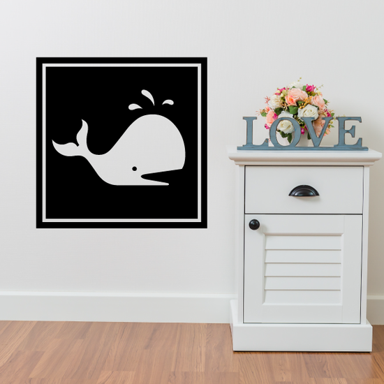Square Style Adorable Whale Decal