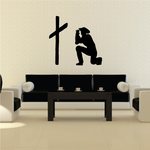 Cowboy praying at cross decal