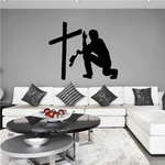 Cowboy with hand up praying decal