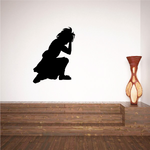 Girl with hand on her head praying decal
