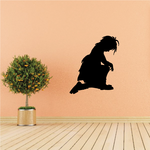 Young girl Kneeling praying decal