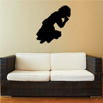 Young Girl on both knees praying decal