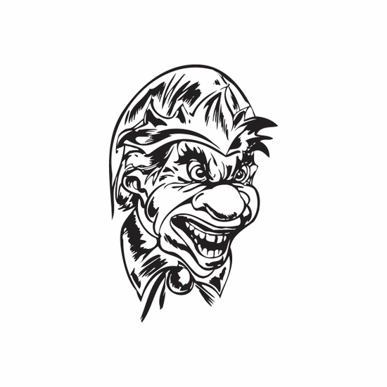 Laughing Big Nose Jester Head Decal