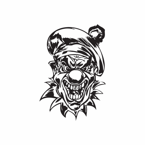 Angry Golf Hat Clown Head Decal