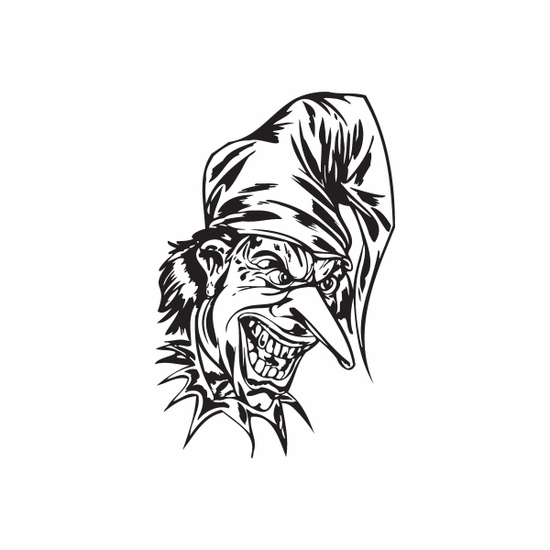 Yelling Long Nose Jester Head Decal