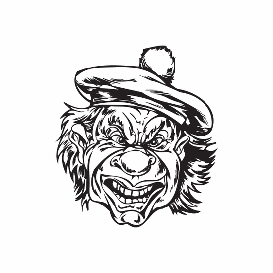 Giggling Golf Hat Clown Head Decal