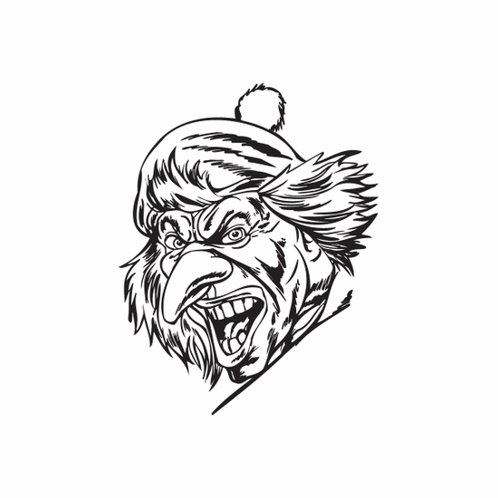Pointy Nose Golf Hat Clown Head Decal