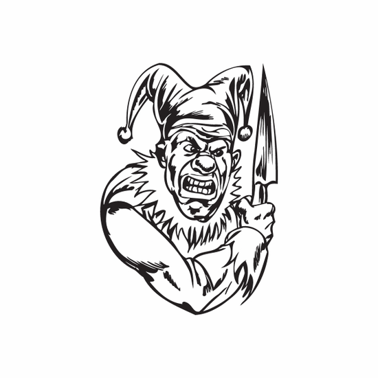Angry Jester with Knife Decal
