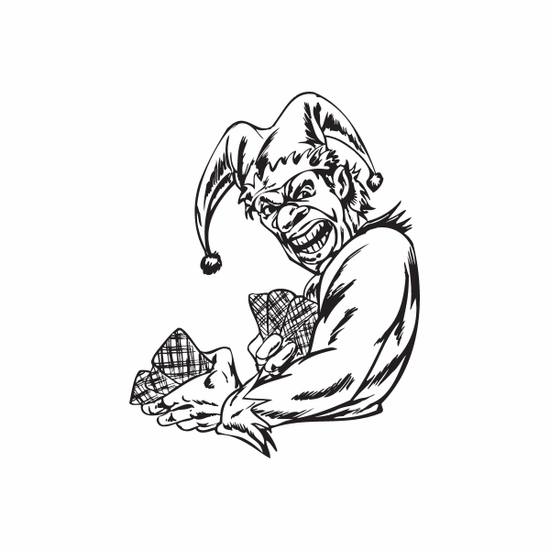 Jester Dealing Cards Decal