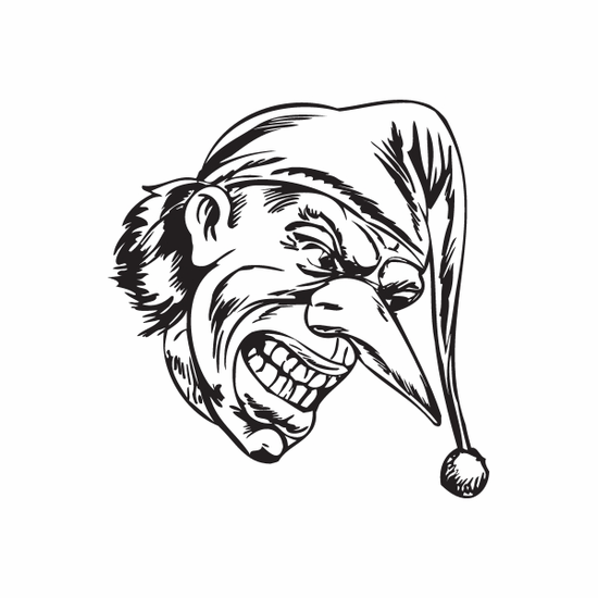 Grinning Pointy Nose Jester Head Decal