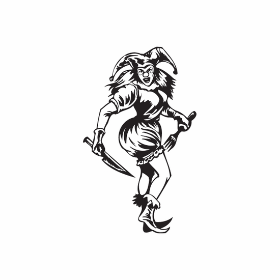 Woman Jester with Fork and Knife Decal