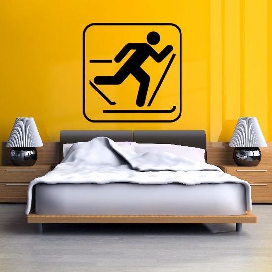 Cross Country Skiing Sign Decal