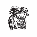 Screaming Painted Face Jester Head Decal