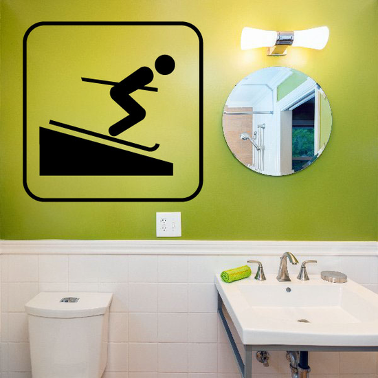 Downhill Skiing Sign Decal