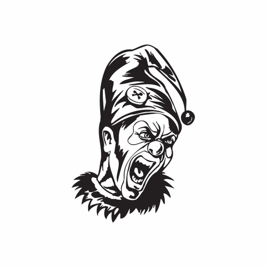 Angry Painted Face Jester Head Decal