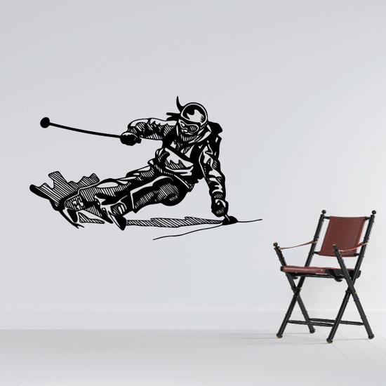 Detailed Carving Skier Decal