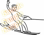 Water Skier Waving Skiing Wall Decal - Vinyl Decal - Car Decal - MC003