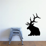 Bull Elk Sitting on Grass Decal