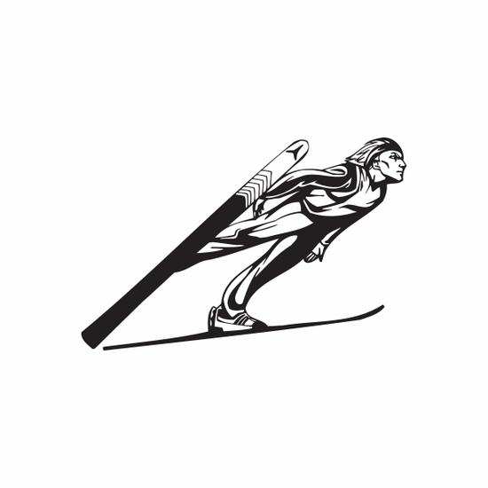 Skiing Wall Decal - Vinyl Decal - Car Decal - DC 003