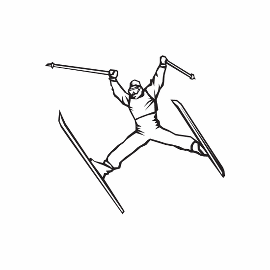 Skiing Wall Decal - Vinyl Decal - Car Decal - DC 015