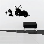 Man Praying in front of Motorcycle Decal