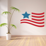 Waving America Flag Star Printed Die Cut Decal