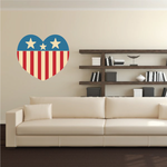 Heart Shaped Retro America Flag Sticker