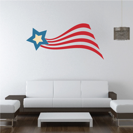 USA Tailed Star Printed Die Cut Decal