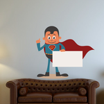Superhero Holding Sign with cape Sticker