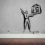 Man Holding Building Wall Decal - Vinyl Decal - Car Decal - Business Decal - MC03