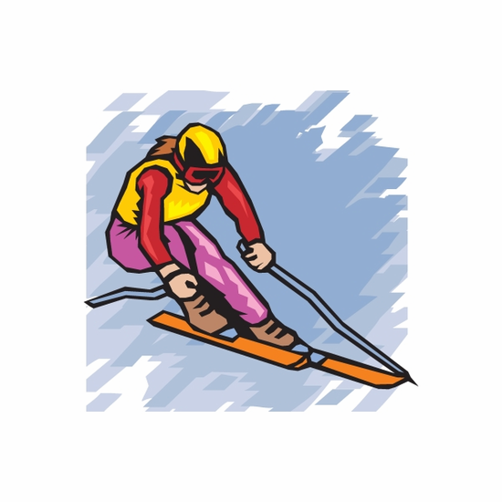 Skiing Wall Decal - Vinyl Sticker - Car Sticker - Die Cut Sticker - DC 006