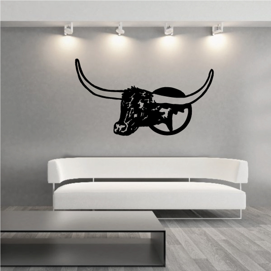 Cattle Cow Mounted Texas Longhorn Decal