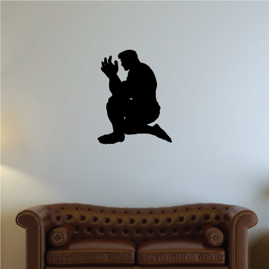Muscle Man Looking at hands praying decal