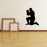 Muscle Man On one knee praying decal
