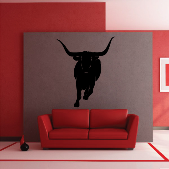 Charging Texas Longhorn Cattle Decal