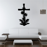 Cross with Flowers Decal
