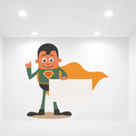 Green Superhero holding Sign Sticker