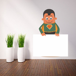 Green Superhero Pointing to Sign Sticker