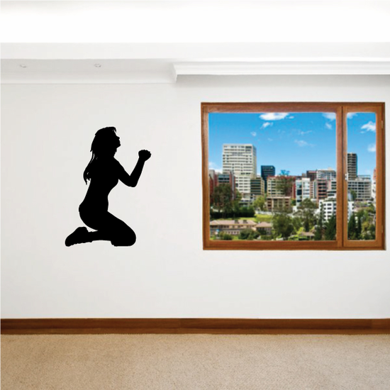 Praying Woman Looking to the sky Decal