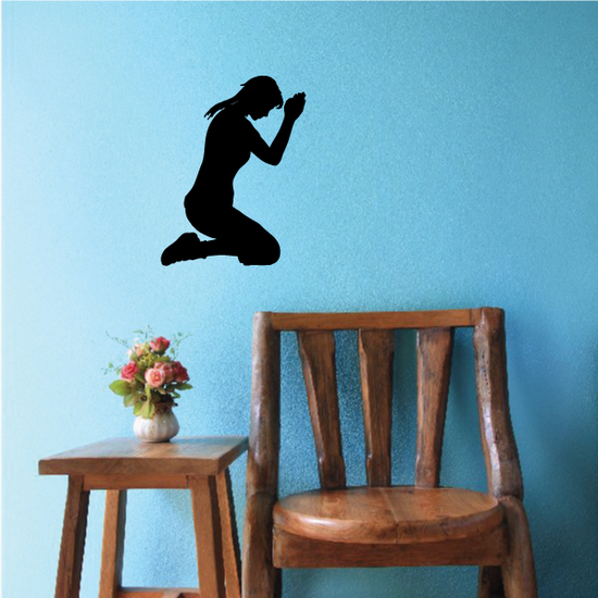 Praying Woman with head down decal