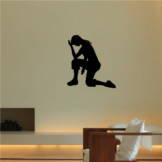 Woman with hand on head praying decal