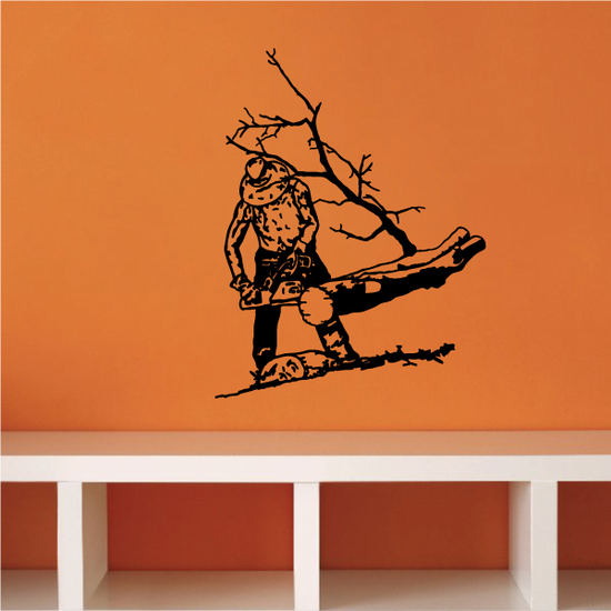 Cutting Tree with Chainsaw Decal